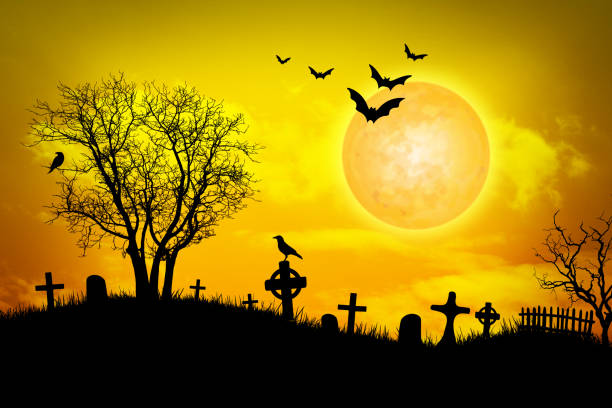 Halloween background illustration, with tombs, grass, birds, bats and skeleton trees silhouettes above a orange color backdrop with full moon at night.
